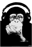 Steez Headphone Chimp - Black & White Prints by  Steez