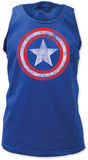 Tank Top: Captain America - Distressed Shield on Royal Tank Top