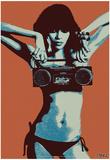Steez Bikini Boombox - Orange Poster