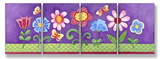 Purple Floral Set of 4 Wood Sign
