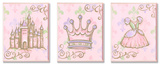 Castle, Crown, and Dress Pink Princess Trio Wood Sign