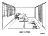 A man meditates in the middle of a sparse room with two bonsai trees. - New Yorker Cartoon Premium Giclee Print by Mark Thompson