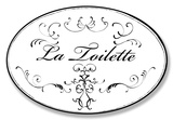 La Toilette White w/Black Oval Placa de madeira