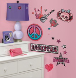 Girls Rock-n-Roll Peel & Stick Wall Decals Vinilos decorativos