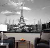 Eiffel Tower Chair Rail Prepasted Mural 6' x 10.5' Wall Mural