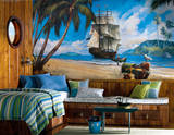 Pirate Chair Rail Prepasted Mural Wallpaper Mural