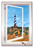 Cape Hatteras Lighthouse Window Wood Sign
