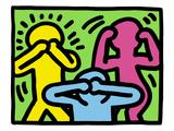 Pop Shop (Ne pas dire, ne pas voir, ne pas entendre ce qui est mal) Reproduction procédé giclée par Keith Haring