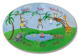 Wash Your Hands Jungle Oval Wood Sign