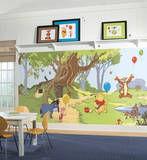 Pooh & Friends Chair Rail Prepasted Mural Wallpaper Mural
