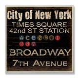 New York Train Landmarks Typography Wood Sign