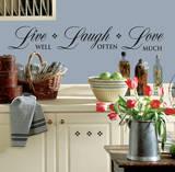 Live Well-Love Often-Love Much Peel & Stick Single Sheet Kalkomania ścienna