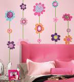 Blomster og striber, selvklæbende kæmpe vægdekoration Wallstickers