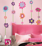 Flower Stripe Peel & Stick Giant Wall Decal Wall Decal