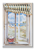 Seascape Faux Window Scene Wood Sign
