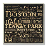 Boston Landmarks Typography Wood Sign
