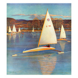 """Iceboating in Connecticut"", November 28, 1959 Giclee Print by John Clymer"