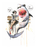 Mr Shark Prints by Lora Zombie