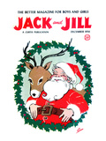 Santa & Reindeer - Jack and Jill, December 1956 Giclee Print by Ann Eshner