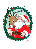 Santa &amp; Reindeer - Jack and Jill, December 1956 Giclee Print by Ann Eshner
