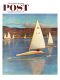 """Iceboating in Connecticut"" Saturday Evening Post Cover, November 28, 1959 Giclee Print by John Clymer"