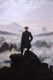 Wandelaar boven zee van mist Affiches van Caspar David Friedrich