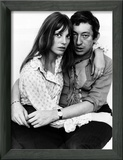Jane Birkin Actress and Serge Gainsbourg at Home in Their Chelsea Flat Zarámovaná reprodukce fotografie