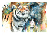 Mr Tiger Reproduction procédé giclée par Lora Zombie
