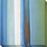 Blue, Green, White and Orange Soft Vertical Stripes Leinwand