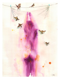 Magenta Girl Giclee Print by Lora Zombie