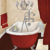 Red Guest Bathroom I Art by Elizabeth Medley