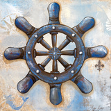 Nautical Wheel Print by Gina Ritter