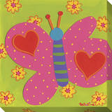 Pink Butterfly Hearts Stretched Canvas Print