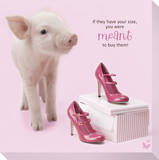 In The Pink! - High Heel Pig 1 Stretched Canvas Print