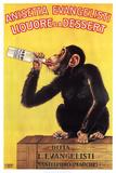 Małpa z butelką anyżówki, włoski Plakaty