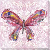Pink Butterfly on Light Pink Pattern Stretched Canvas Print by Laura Hughes