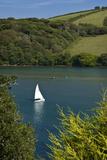 River Avon Bigbury with white sailboat Photographic Print by Charles Bowman