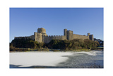 Pembroke Castle Wales in winter Premium Giclee Print by Charles Bowman