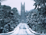 Duke University - Snowy Chapel Drive Photographic Print