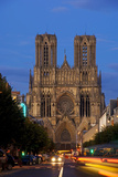 Reims Cathedral at dusk in Champagne France Premium Giclee Print by Charles Bowman