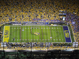 Louisiana State University - Band Spells LSU on the Field at Tiger Stadium Photographic Print