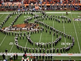 Oregon State University - The Band Spells OS on the Field Fotografisk tryk