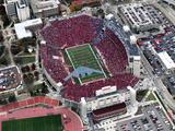 University of Nebraska - Stealth Bomber over Memorial Stadium Photographic Print