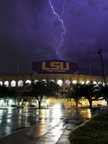 Louisiana State University - Tiger Stadium Lightning Photographic Print