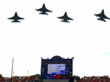 University of Illinois - Jets Fly over Memorial Stadium Photographic Print