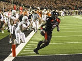 Texas Tech University - Michael Crabtree's Winning Touchdown Fotografisk tryk af Norvelle Kennedy
