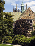 Boston College - Bapst Rising over a Blue Sky Campus Photographic Print