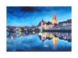 Regensburg, Bavaria, at Dawn Premium Giclee Print by Markus Bleichner