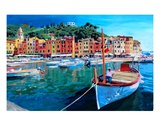 Tranquility in the Harbour of Portofino Premium Giclee Print by Markus Bleichner