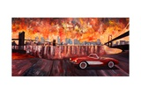 New York City Bridges with Red Corvette Premium Giclee Print by Markus Bleichner